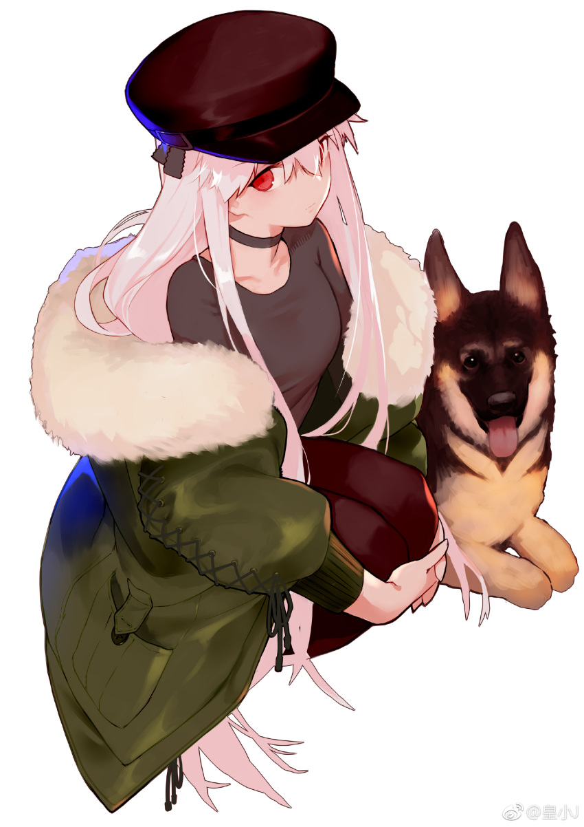 1girl absurdres black_legwear breasts casual choker closed_mouth dog from_above fur_trim german_shepherd girls_frontline hair_between_eyes hat highres jacket joseph_lee kar98k_(girls_frontline) long_hair long_sleeves medium_breasts off_shoulder pantyhose pink_hair red_eyes sidelocks simple_background solo squatting very_long_hair weibo_username white_background