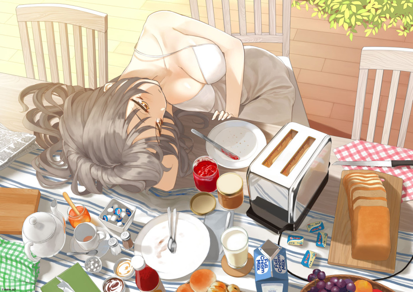 1girl black_hair bread breasts brown_eyes chair cleavage cup dress food fruit grapes jam jar knife large_breasts long_hair milk napkin original plate saucer solo table teacup teapot throtem toaster white_dress wooden_floor