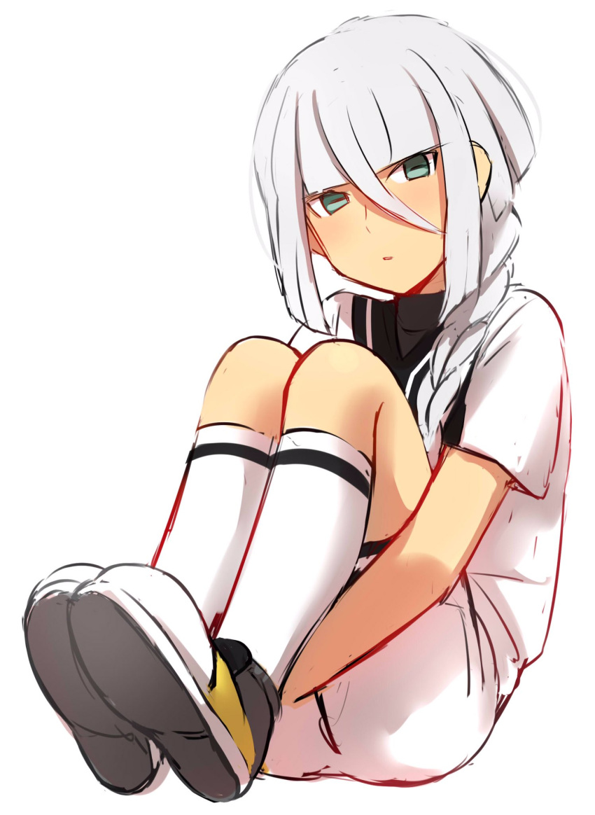 1boy androgynous bangs blunt_bangs blush braid hair_between_eyes hair_over_shoulder highres inazuma_eleven_(series) inazuma_eleven_go inazuma_eleven_go_galaxy leg_hug legs_together looking_at_viewer male_focus parted_lips sekina shirt shoes short_sleeves shorts silver_hair simple_background single_braid sitting soccer_uniform socks solo sportswear white_background white_legwear white_shirt white_shorts yuri_averin