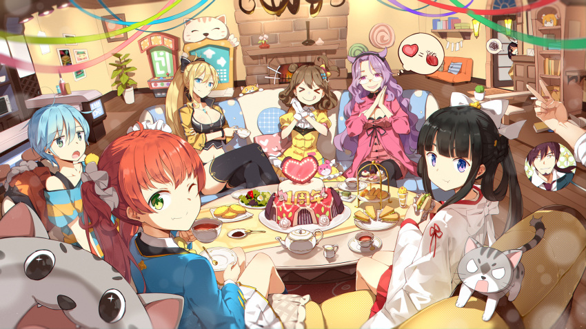 >_< 1boy 6+girls :q :t ahoge bangs black_hair black_legwear blazer blue_hair bow braid breasts brown_hair cake cake_stand cat cleavage closed_mouth collarbone couch crop_top cropped_jacket cup curly_hair d: eyebrows_visible_through_hair facial_hair fang_out food goatee green_eyes hair_bow hair_bun hair_ornament hair_rings hair_scrunchie hakama_skirt heart highres holding holding_cup holding_food indoors jacket japanese_clothes jitome large_breasts legs_crossed lf living_room long_hair looking_back miko miniskirt multiple_girls off-shoulder_shirt off_shoulder on_couch one_eye_closed one_side_up open_mouth orange_hair out_of_frame parfait pastry photobomb pleated_skirt pov purple_hair rimless_eyewear sandwich saucer scrunchie shaonyu_cofee_gun shirt short_hair side_bun side_ponytail sidelocks sitting skirt sleeves_past_elbows spoken_squiggle spoon squiggle striped striped_shirt tareme teacup teapot teeth thigh-highs thought_bubble tongue tongue_out v-shaped_eyebrows violet_eyes wavy_hair white_skirt wide_sleeves yellow_bow