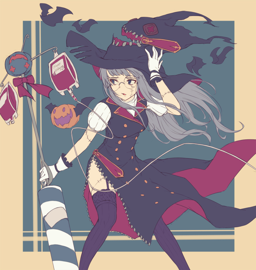 1girl bangs bat blood blood_bag blue_background blue_eyes blunt_bangs dress feet_out_of_frame garter_belt glasses gloves grey_hair halloween hand_on_headwear hat highres holding intravenous_drip kotoribako long_hair looking_to_the_side original parted_lips puffy_short_sleeves puffy_sleeves pumpkin purple_dress purple_legwear ribbed_legwear scar short_sleeves standing thigh-highs torn_clothes white_gloves witch witch_hat