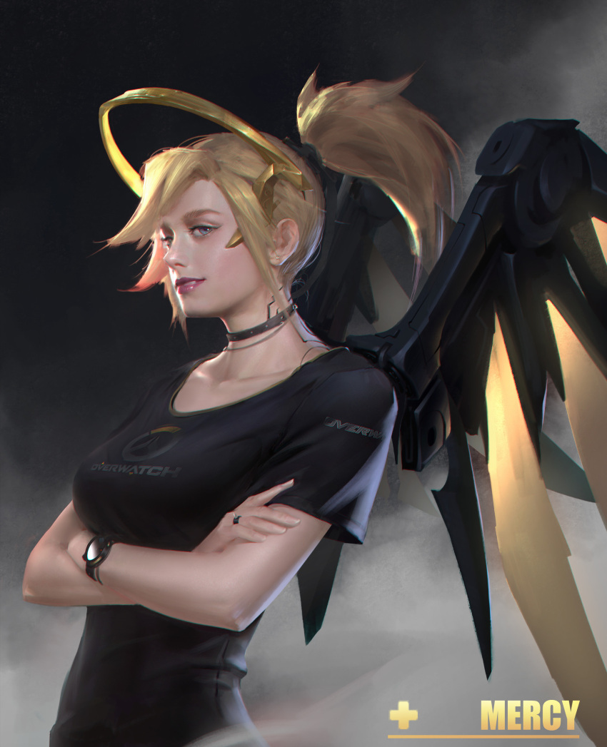 1girl alternate_wing_color backlighting black_choker black_shirt black_wings blonde_hair blue_eyes breasts casual character_name chromatic_aberration collarbone copyright_name crossed_arms dark_background dark_persona earrings eyeliner eyeshadow from_side glowing glowing_wings grey_background hair_tie high_ponytail highres jewelry lipstick logo looking_at_viewer makeup mechanical_halo medium_breasts mercy_(overwatch) necklace nose overwatch parted_lips pink_lips pink_lipstick realistic ring shirt short_hair short_sleeves smile smirk solo stud_earrings t-shirt upper_body watch wings yellow_wings yi_sui