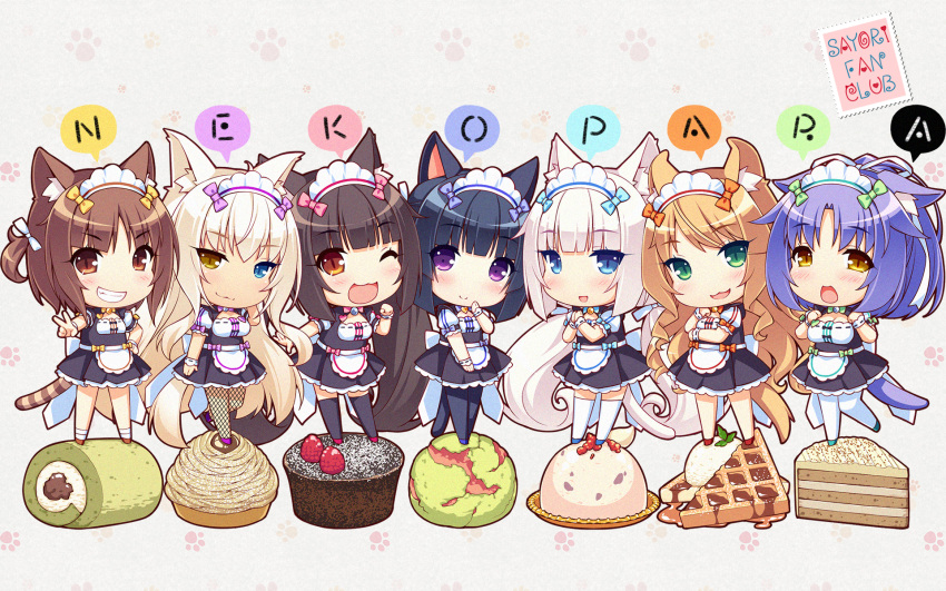 6+girls :3 :d ;d animal_ears artist_name azuki_(sayori) bangs black_hair blonde_hair blue_eyes blunt_bangs brown_eyes brown_hair cake cat_ears cat_tail chibi chocola_(sayori) cinnamon_(sayori) coconut_(sayori) copyright_name eyebrows_visible_through_hair eyes_visible_through_hair fake_animal_ears fanbox_reward fishnets food food_request green_eyes grin heterochromia highres ice_cream long_hair looking_at_viewer maid maid_headdress maple_(sayori) minazuki_shigure mont_blanc_(food) multiple_girls nekopara official_art one_eye_closed open_mouth paid_reward pastry paw_print purple_hair sayori short_hair slit_pupils smile tail two_side_up v v-shaped_eyebrows vanilla_(sayori) very_long_hair violet_eyes wallpaper white_hair yellow_eyes