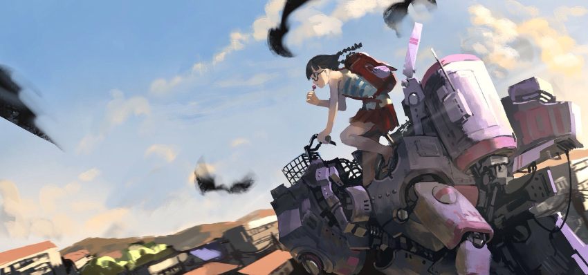 1girl backpack bag black_eyes black_hair blue_sky braid candy clouds food glasses highres kaatoso lollipop long_hair mecha original robot skirt sky tank_top twin_braids