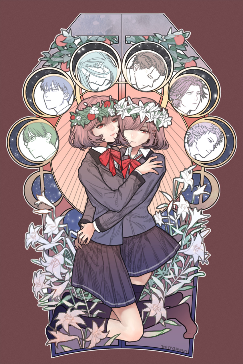 2girls 6+boys artist_name black_legwear black_skirt blazer brown_background brown_eyes brown_hair character_request closed_eyes closed_mouth collared_shirt flower glasses hair_over_one_eye hand_on_another's_shoulder head_wreath highres hug jacket kneehighs kneeling lily_(flower) long_sleeves multiple_boys multiple_girls own_hands_together partially_colored pleated_skirt profile protagonist_(tokimemo_gs3) red_neckwear school_uniform shirt short_hair skirt teiraman tokimeki_memorial tokimeki_memorial_girl's_side tokimeki_memorial_girl's_side_3rd_story white_shirt wing_collar