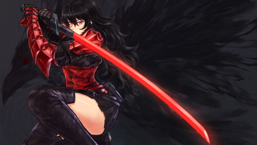 1girl armor black_hair boots fighting_stance gauntlets highres katana long_hair mature miniskirt ootachi raven_branwen red_eyes rwby skirt sword thigh-highs thigh_boots weapon