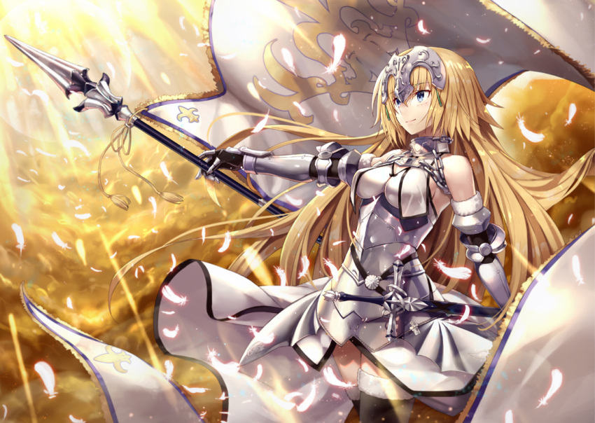 1girl armor armored_dress bangs banner bare_shoulders black_gloves black_legwear blonde_hair blue_eyes breasts chains closed_mouth clouds cloudy_sky commentary_request dress elbow_gloves eyebrows_visible_through_hair fate/grand_order fate_(series) faulds floating_hair fur-trimmed_gloves fur-trimmed_legwear fur_trim gabiran gauntlets gloves glowing glowing_feather hair_between_eyes halterneck headpiece holding holding_spear holding_weapon jeanne_d'arc_(fate) jeanne_d'arc_(fate)_(all) light_rays long_hair looking_away medium_breasts plackart polearm scabbard sheath sheathed shiny shiny_hair sky smile solo spear standard_bearer standing sunlight tassel thigh-highs very_long_hair weapon white_dress white_feathers wind wind_lift