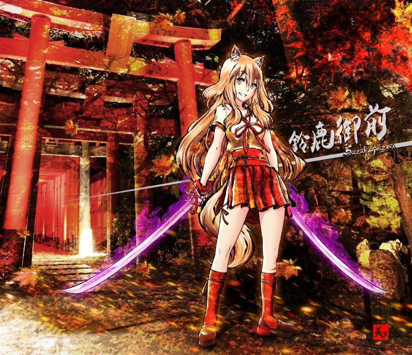 1girl absurdres animal_ears autumn_leaves blonde_hair blush breasts character_name collarbone dual_wielding fate/extra fate/extra_ccc fate/extra_ccc_fox_tail fate/grand_order fate_(series) fox_ears fox_girl fox_tail highres katana large_breasts leaf long_hair looking_at_viewer outdoors red_legwear ribbon saber_(fate/extra_ccc_fox_tail) scenery school_uniform skirt smile solo sunlight sword tail tree weapon yellow_eyes