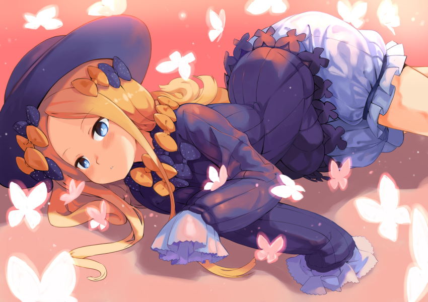 1girl abigail_williams_(fate/grand_order) bangs black_bow black_dress black_hat blonde_hair bloomers blue_eyes blush bow butterfly commentary_request dress fate/grand_order fate_(series) garun_wattanawessako hair_bow hands_in_sleeves hat long_hair long_sleeves looking_at_viewer lying on_side orange_bow parted_bangs parted_lips polka_dot polka_dot_bow solo underwear very_long_hair white_bloomers