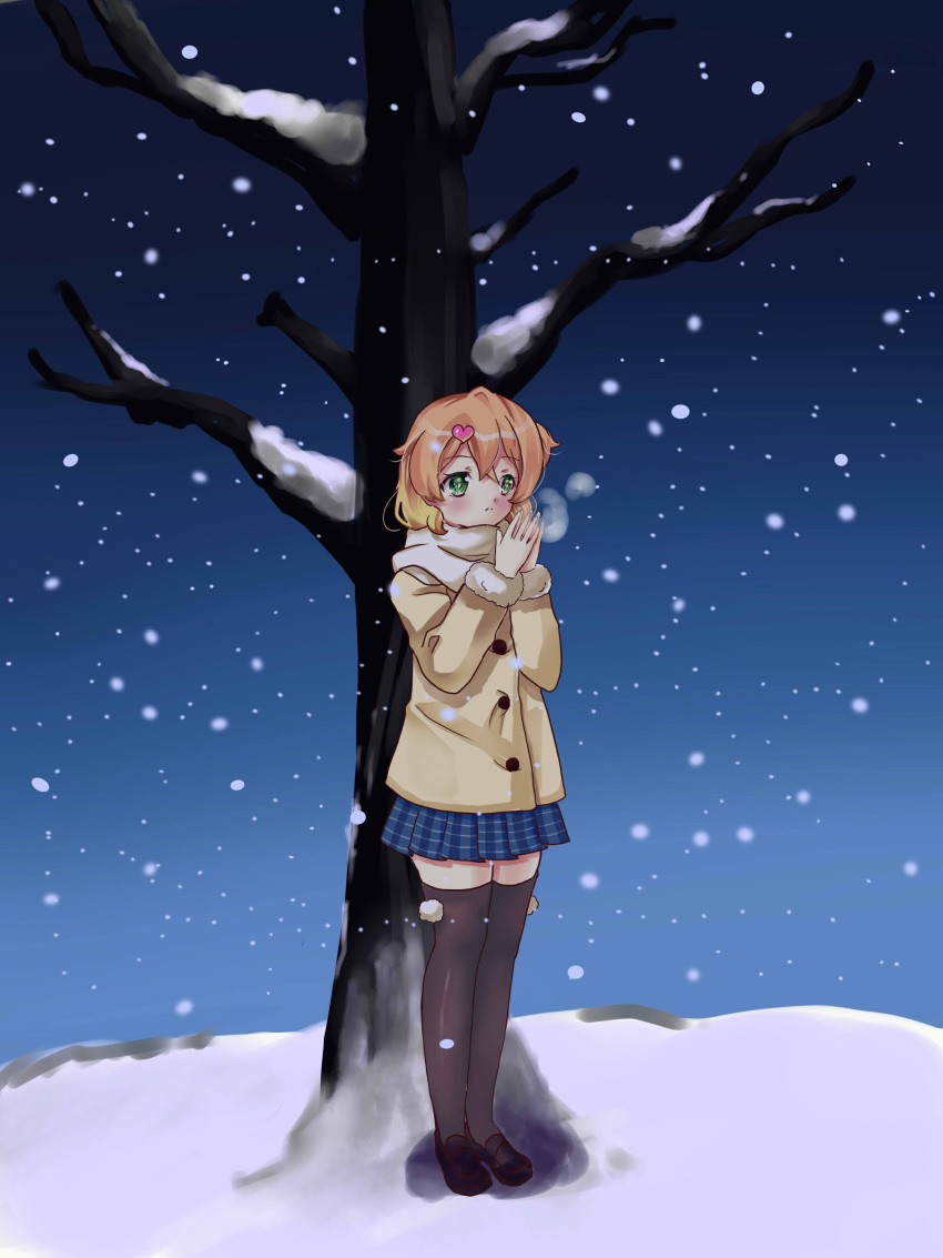 absurdres freyja_wion green_eyes highres kiyoko macross macross_delta multicolored_hair orange_hair snow tree two-tone_hair winter winter_clothes