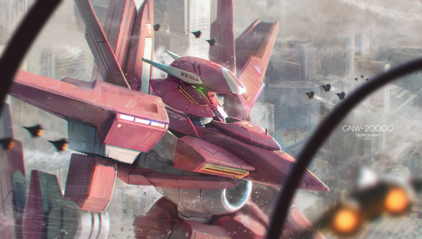 aircraft airplane arche_gundam blurry blurry_foreground building city day depth_of_field fighter_jet glowing glowing_eyes gundam gundam_00 guweiz highres jet mecha military military_vehicle motion_blur no_humans outdoors robot skyscraper solo standing