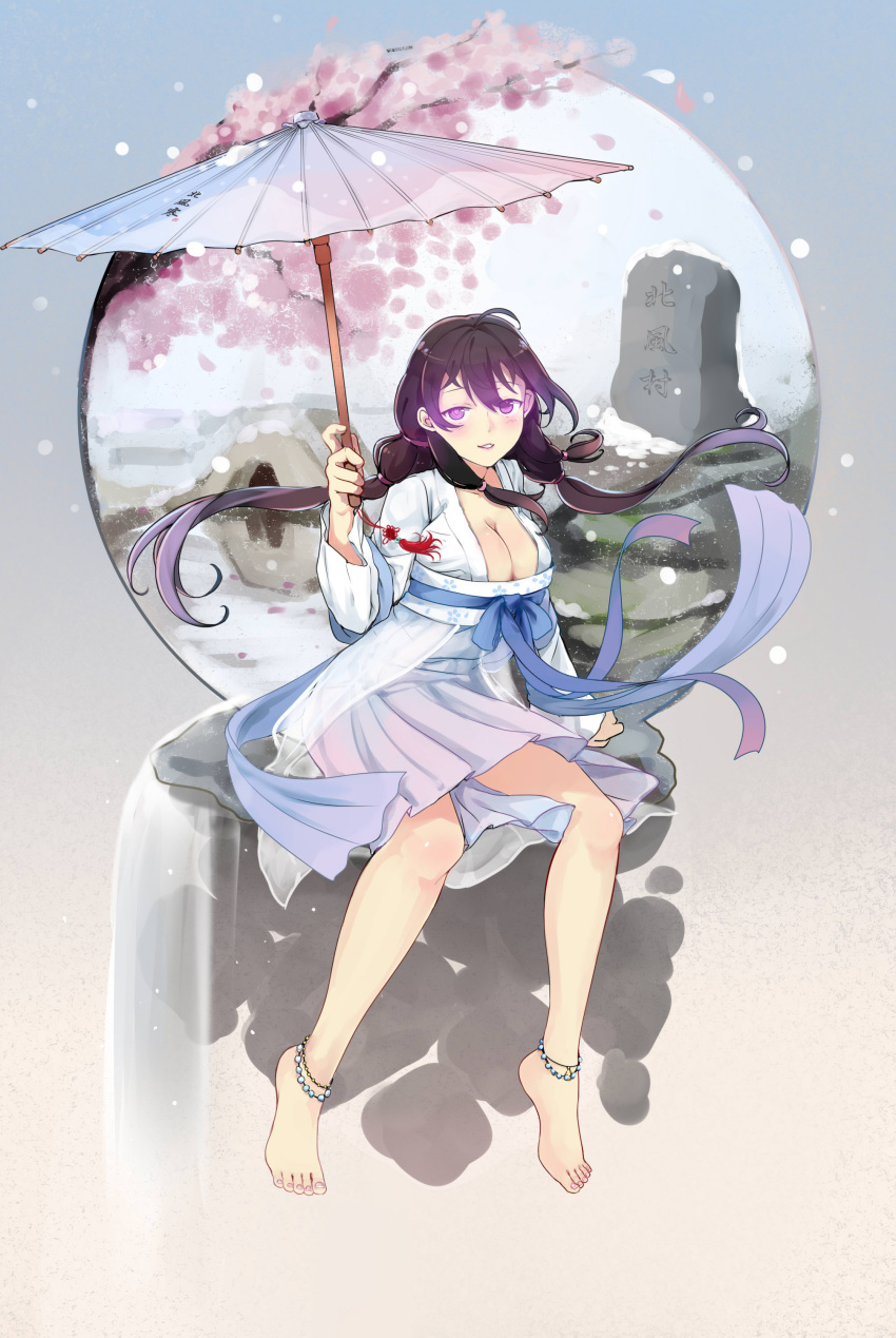 1girl absurdres ahoge barefoot beifeng_han black_hair blush breasts chinese_clothes cleavage commentary_request hair_between_eyes hanfu highres holding holding_umbrella large_breasts long_hair looking_at_viewer miyaura_sanshio oriental_umbrella original sitting smile umbrella violet_eyes