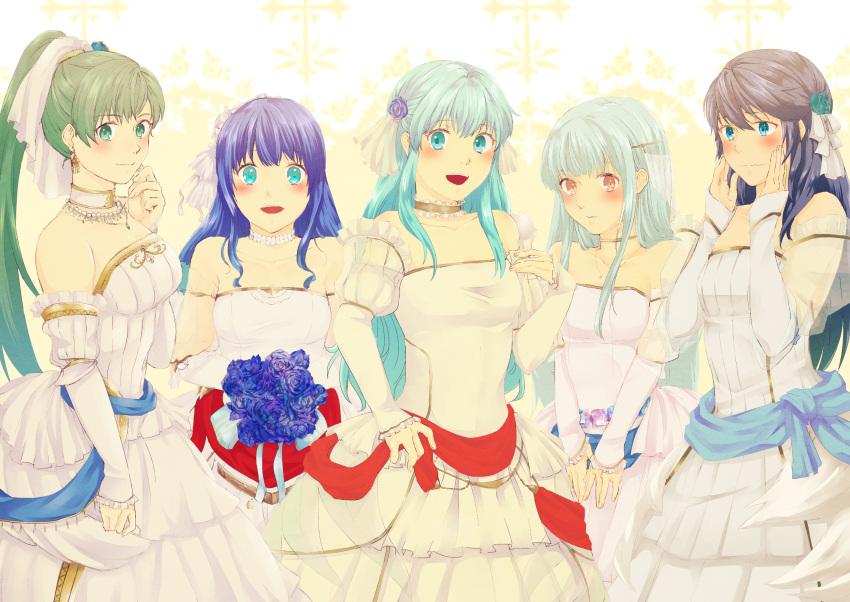 bare_shoulders blue_eyes blue_hair blush bouquet breasts bridal_veil bride dress eirika elbow_gloves embarrassed fingerless_gloves fire_emblem fire_emblem:_kakusei fire_emblem:_monshou_no_nazo fire_emblem:_seima_no_kouseki fire_emblem_heroes flower formal gloves green_hair highres jewelry long_hair looking_at_viewer lucina lyndis_(fire_emblem) mamkute multiple_girls necklace ninian nishimura_(nianiamu) open_mouth pegasus_knight ponytail red_eyes rose sheeda smile strapless strapless_dress tiara veil wedding wedding_dress white_dress white_gloves