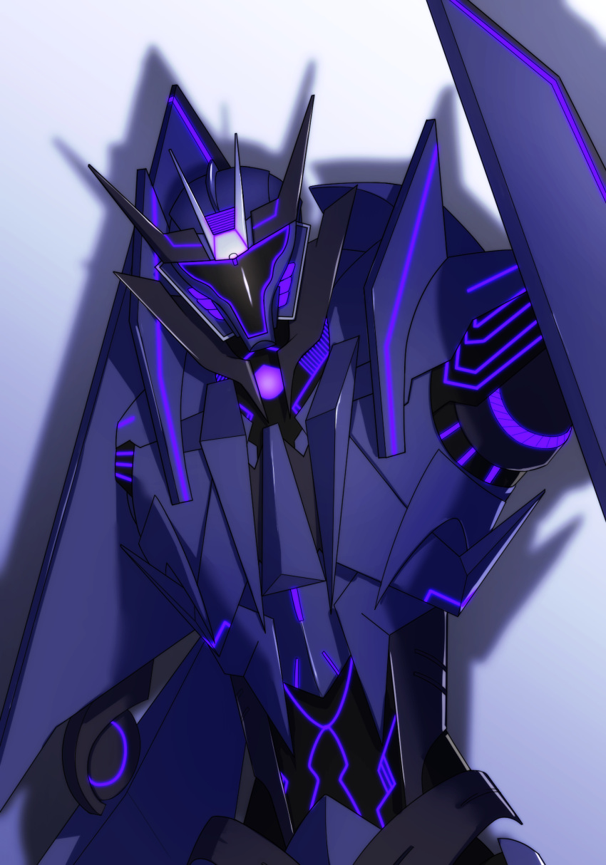 1boy decepticon glowing highres horns looking_at_viewer no_humans simple_background solo soundwave standing transformers transformers_prime upper_body white_background