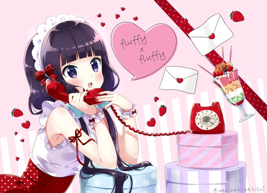 1girl :d arm_ribbon blend_s blush bow box corded_phone dated food frilled_shirt frills fruit hair_bow hands_up headdress heart holding holding_phone letter long_hair love_letter low_twintails nail_polish neki_(wakiko) open_mouth parfait phone pocky polka_dot polka_dot_bow polka_dot_skirt purple_hair red_bow red_nails red_ribbon red_skirt ribbon rotary_phone sakuranomiya_maika scrunchie shirt skirt sleeveless sleeveless_shirt smile solo strawberry talking_on_phone twintails twitter_username upper_teeth very_long_hair violet_eyes white_scrunchie white_shirt wrist_scrunchie