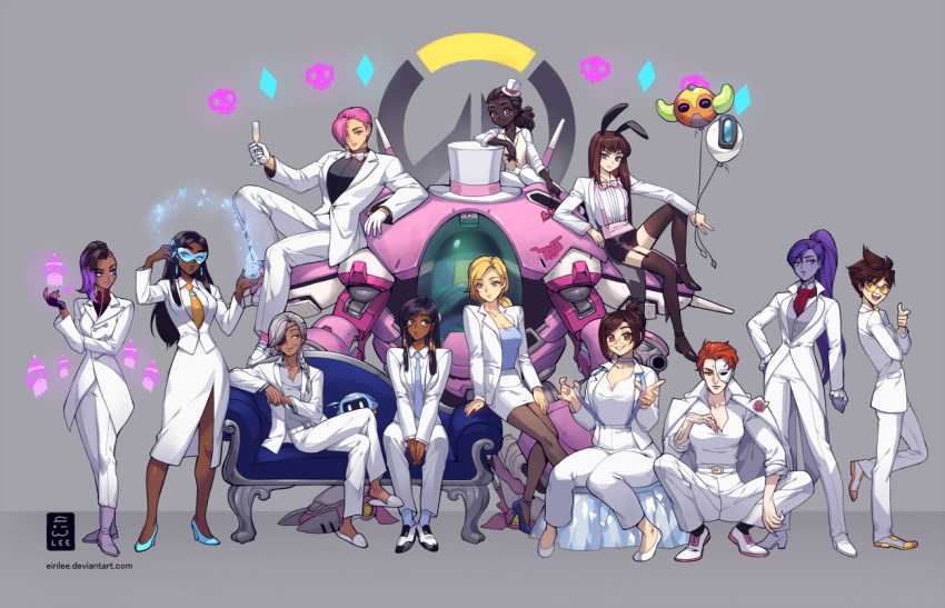 6+girls alternate_hairstyle ana_(overwatch) animal_ears balloon bastion_(overwatch) black_hair blonde_hair braid brown_hair character_balloon couch d.va_(overwatch) dark_skin dress_suit efi_oladele ein_lee everyone eyepatch facial_tattoo formal garter_straps glasses grey_hair hairlocs half_mask hat high_heels ice logo mecha mei_(overwatch) meka_(overwatch) mercy_(overwatch) mini_hat mini_top_hat moira_(overwatch) mother_and_daughter multicolored_hair multiple_girls necktie orisa_(overwatch) overwatch pantyhose pharah_(overwatch) pink_hair purple_skin rabbit_ears simple_background sitting skull smile snowball_(overwatch) sombra_(overwatch) squatting suit sunglasses suspenders symmetra_(overwatch) tattoo thigh-highs top_hat tracer_(overwatch) tuxedo two-tone_hair waistcoat white_suit widowmaker_(overwatch) zarya_(overwatch)