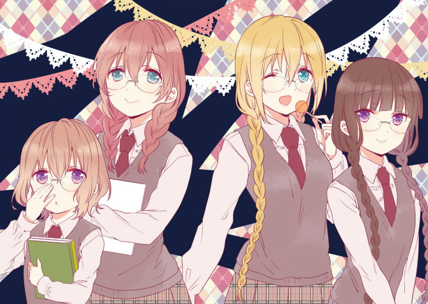 4girls amano_miu aqua_eyes blend_s blonde_hair book braid brown_hair candy food glasses hinata_kaho hoshikawa_mafuyu lollipop long_hair multiple_girls nakayama_miyuki necktie official_art one_eye_closed open_mouth redhead sakuranomiya_maika school_uniform sweater_vest twin_braids violet_eyes