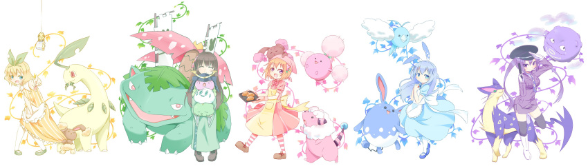 5girls :d absurdres alternate_color alternate_costume animal_ears apron aqua_eyes armor azumarill bangs banner bare_shoulders bayleef black_hat black_legwear blonde_hair blue_dress blue_eyes blue_footwear blunt_bangs blush boots bow bowtie bread breast_pocket breasts brown_footwear brown_hair buneary buttons closed_eyes closed_mouth collared_shirt commentary_request crossover dress dress_tug eating eyebrows_visible_through_hair facing_viewer flaaffy flat_chest flower food foreshortening frilled_apron frills full_body gloves gochuumon_wa_usagi_desu_ka? green_footwear green_hairband green_kimono gulpin gun hair_between_eyes hair_flower hair_ornament hairclip hands_together hat head_scarf helmet hetareeji highres holding holding_gun holding_poke_ball holding_weapon hoppip hoto_cocoa japanese_armor japanese_clothes joltik jumpluff kabuto kafuu_chino kimono kirima_sharo koffing liepard light_blue_hair loafers long_hair long_sleeves looking_at_viewer medium_breasts multiple_girls necktie on_head open_mouth orange_hair pantyhose peaked_cap pencil_skirt pink_dress pink_flower pink_neckwear plant pocket pointing pointing_at_viewer poke_ball pokemon pokemon_(creature) puffy_short_sleeves puffy_sleeves purple_hair purple_neckwear purple_skirt rabbit_ears salute sashimono shiny_pokemon shirt shoes short_hair short_sleeves sidelocks skirt sleeveless sleeveless_dress smile standing standing_on_one_leg striped striped_dress swablu sweatdrop tedeza_rize thigh-highs tray tsurime twintails ujimatsu_chiya vanillite venusaur very_long_hair vines violet_eyes waist_apron weapon white_apron white_background white_footwear white_gloves white_legwear white_shirt wide_sleeves wing_collar x_hair_ornament yellow_apron yellow_dress
