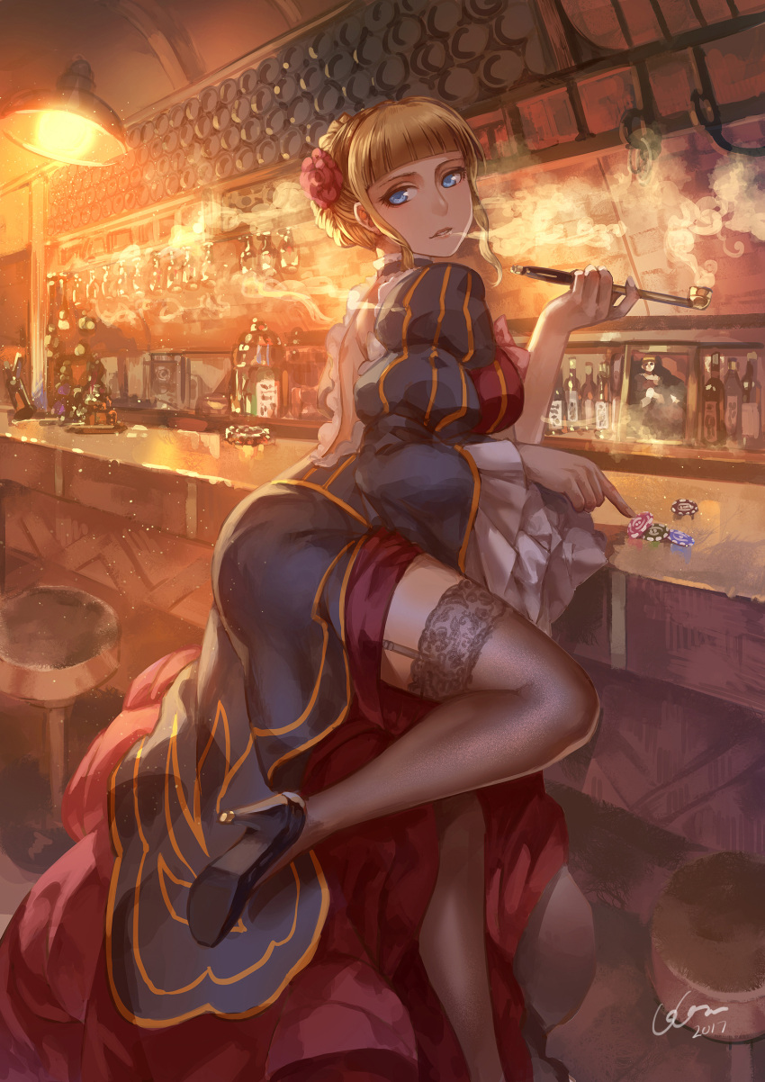 1girl 2017 bar_stool beatrice blonde_hair blue_eyes dated frilled_sleeves frills garter_straps high_heels highres kiseru lace lace-trimmed_thighhighs looking_at_viewer madcocoon pipe poker_chip smoking solo stool thigh-highs thighs umineko_no_naku_koro_ni wide_sleeves