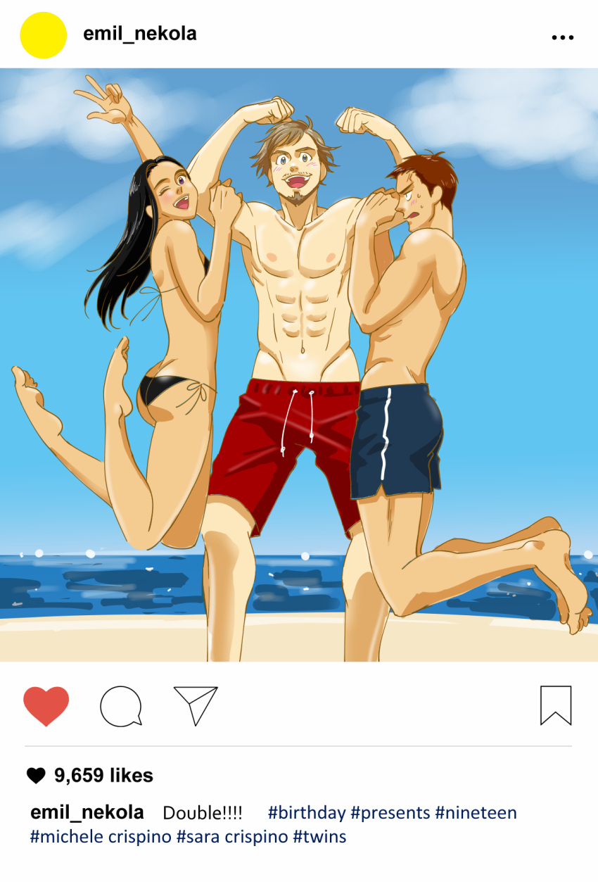 1girl 2boys ;d beach beard bikini black_bikini black_hair blue_eyes brown_hair dark_skin emil_nekola english facial_hair fake_screenshot highres instagram male_swimwear michele_crispino multiple_boys natsuno_(natsunosho) one_eye_closed open_mouth sara_crispino smile swim_trunks swimsuit swimwear toned toned_male violet_eyes yuri!!!_on_ice