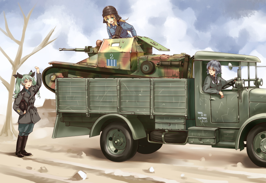 3girls alternate_costume anchovy anzio_military_uniform aqua_hair blonde_hair braid carpaccio carro_veloce_cv-33 clouds commentary_request day dirt_road drill_hair girls_und_panzer green_hair grey_hair grey_jacket ground_vehicle highres jacket l3/33 long_hair long_sleeves longmei_er_de_tuzi looking_back military military_vehicle motor_vehicle multiple_girls outdoors pepperoni_(girls_und_panzer) side_braid sitting standing sunlight tank tankette tree truck twin_drills world_war_ii