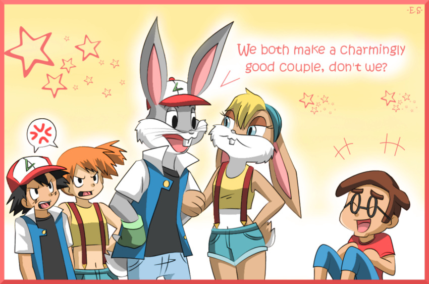 2girls 3boys angry animal black_eyes black_hair blue_eyes brown_hair bugs_bunny cap closed_eyes creatures_(company) crossover deviantart endless-rainfall furry game_freak glasses gloves holding_hands kasumi_(pokemon) kasumi_(pokemon)_(cosplay) laughing lola_bunny looney_tunes nintendo orange_hair pants pokemon_(anime) pokemon_rgby rabbit red_shirt satoshi_(pokemon) satoshi_(pokemon)_(cosplay) shirt short_hair shorts star warner_bros yellow_shirt