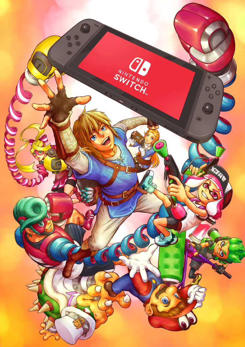 3girls 5boys absurdres arms_(game) blonde_hair blue_eyes blue_hair bowser boxing_gloves cappy_(mario) domino_mask facial_hair gloves green_hair hat highres inkling link long_hair looking_at_viewer male_focus mario mario_(series) mask multicolored_hair multiple_boys multiple_girls mustache nintendo nintendo_switch pink_hair pompadour ponytail princess_zelda ribbon ribbon_girl_(arms) ribbon_hair short_hair smile sparky_(arms) splatoon splatoon_2 spring_man_(arms) super_mario_odyssey switch t_(numerodieci10) tentacle_hair the_legend_of_zelda the_legend_of_zelda:_breath_of_the_wild two-tone_hair