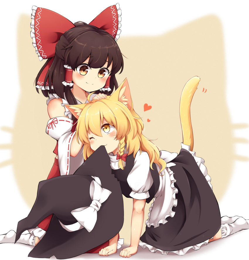 2girls ;) absurdres all_fours animal_ears blonde_hair blush bow brown_eyes brown_hair cat_ears cat_tail chocolate_hair commentary detached_sleeves hair_bow hair_tubes hakurei_reimu heart highres kirisame_marisa long_hair lovestruck medium_hair mouth_hold multiple_girls one_eye_closed pet_play petting puffy_short_sleeves puffy_sleeves riza_dxun short_sleeves sitting skirt skirt_set smile socks tail touhou vest wariza wavy_hair yellow_eyes yuri