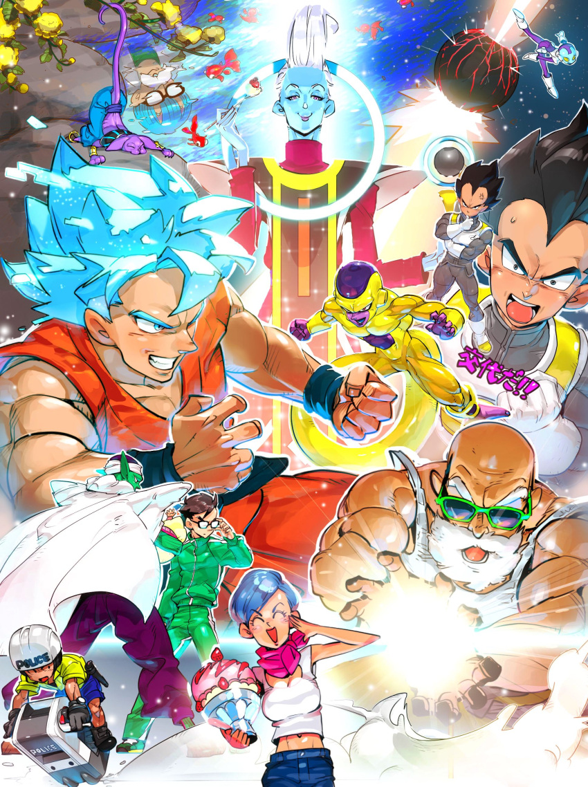 2girls 6+boys ^_^ absurdres annoyed armor attacking_viewer baby bald beard beerus black_eyes black_hair blue_eyes blue_hair blush_stickers boots breasts bulma cape clenched_hand closed_eyes couple denim dessert dougi dr._briefs dragon_ball dragon_ball_super dragon_ball_z_fukkatsu_no_f dragonball_z explosion facial_hair facing_away father_and_daughter father_and_son fighting_stance fingernails fish flower flying_vehicle food fork frieza fruit full_body ginga_patrol_jaco glasses gloves golden_frieza gym_uniform hand_on_own_chin helmet highres ice_cream jaco_(ginga_patrol_jaco) jeans kamehameha koi kuririn long_sleeves looking_at_viewer looking_away multiple_boys multiple_girls mustache muten_roushi navel neckerchief open_mouth pan_(dragon_ball) pants piccolo planet reflection salute shirt short_hair smile son_gohan son_gokuu spiky_hair staff strawberry sunglasses super_saiyan_blue supobi sweatdrop tail translated turban upper_body vegeta violet_eyes water whis white_hair white_shirt wristband yellow_flower