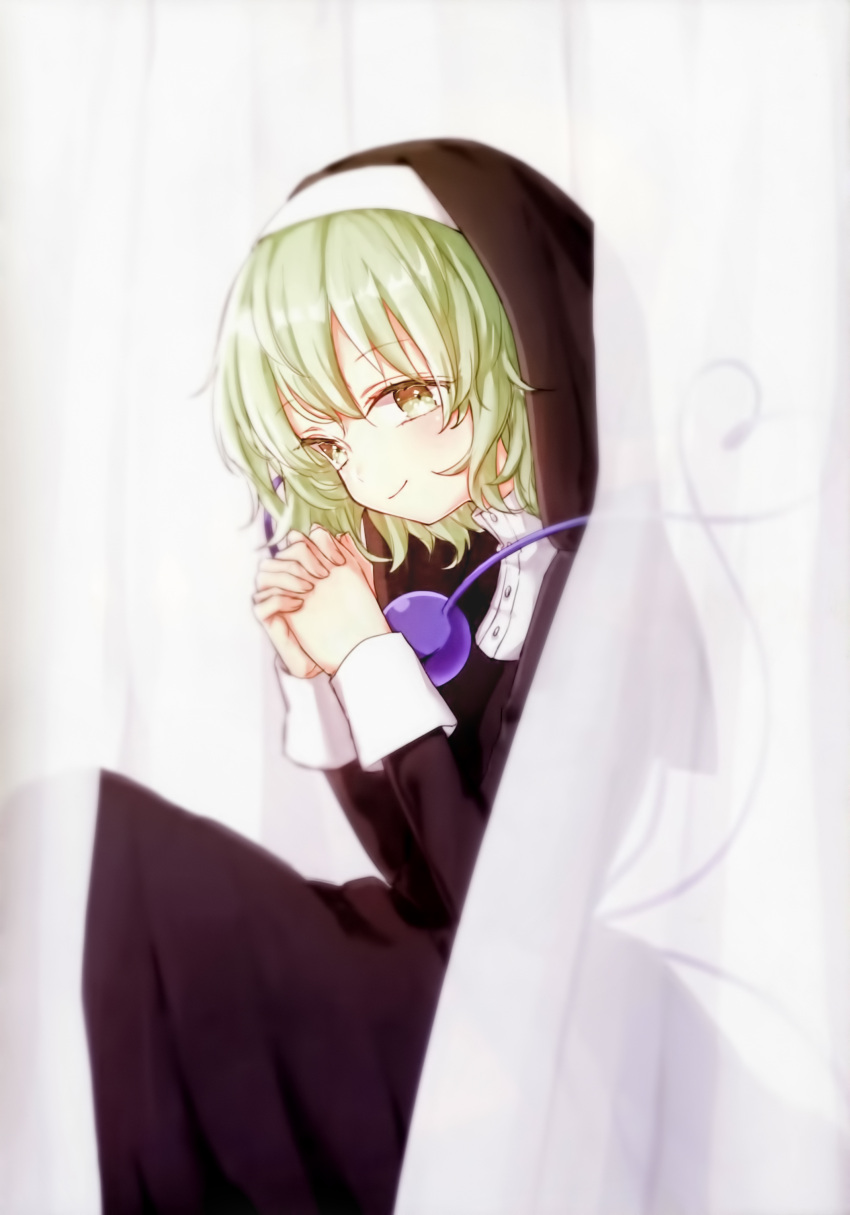 1girl absurdres alternate_costume closed_mouth green_eyes green_hair habit hands_up heart heart_of_string highres honotai interlocked_fingers komeiji_koishi looking_at_viewer nun own_hands_together robe scan see-through sitting smile solo third_eye touhou