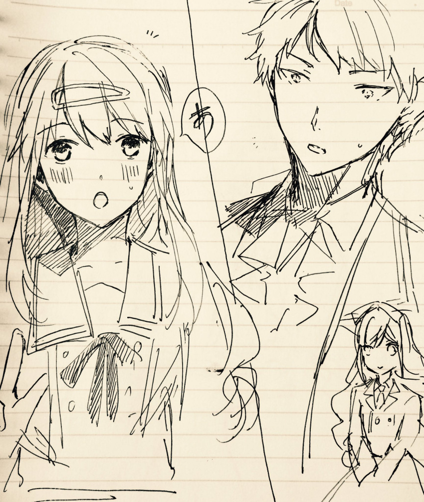 1boy 1girl doll ensemble_stars! frilled_necktie hair_ornament highres itsuki_shu jacket kimisaki_school_uniform long_hair mademoiselle_(ensemble_stars!) oekaki pyongtaro school_uniform short_hair spoilers yakumo_chizuru