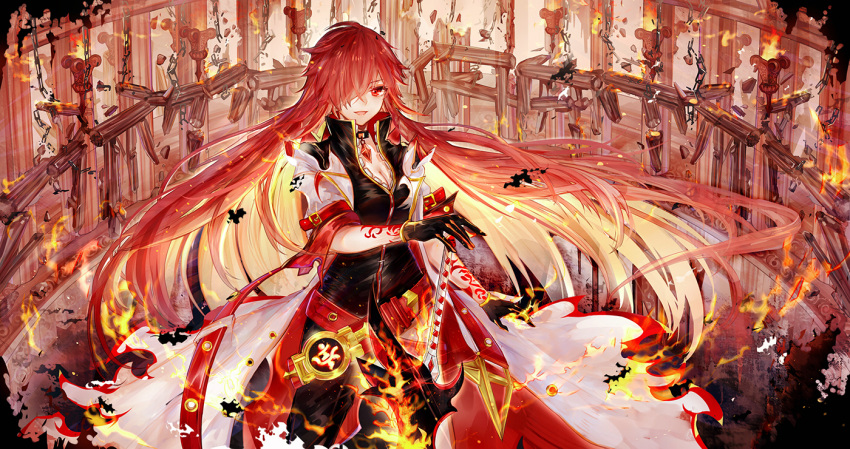 1girl :d asymmetrical_clothes bai_qi-qsr black_gloves blonde_hair cowboy_shot elesis_(elsword) elsword fire flame_lord_(elsword) gloves hair_over_one_eye long_hair looking_at_viewer multicolored_hair open_mouth red_eyes redhead single_pantsleg smile solo sword tattoo weapon white_coat
