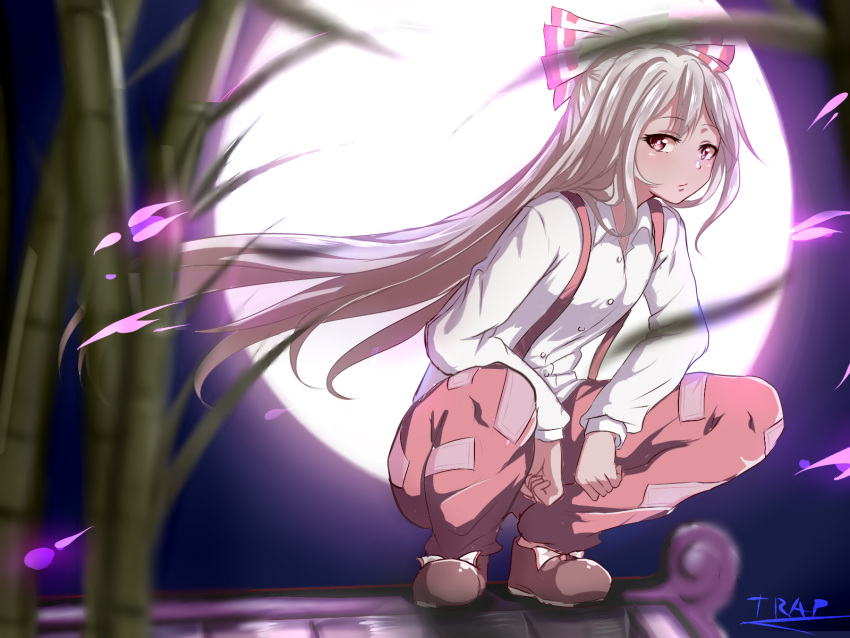 1girl bamboo closed_mouth collared_shirt floating_hair fujiwara_no_mokou full_body full_moon hair_ribbon highres long_hair long_sleeves looking_at_viewer moon moonlight red_eyes ribbon shirt silver_hair solo squatting suspenders touhou trap_(drthumt) white_shirt wing_collar