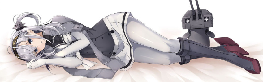 +_+ 1girl bangs bed_sheet black_footwear black_hairband blue_eyes blush boots chou-10cm-hou-chan_(suzutsuki's) clothes_writing corset dakimakura elbow_gloves full_body gloves hairband high_heel_boots high_heels jacket_on_shoulders kantai_collection knee_boots kochipu looking_at_viewer lying miniskirt neckerchief on_side one_side_up pantyhose parted_lips pleated_skirt pocket robot school_uniform serafuku shiny shiny_hair short_sleeves silver_hair simple_background skirt smile suzutsuki_(kantai_collection) turret white_background white_gloves white_legwear white_neckwear white_skirt