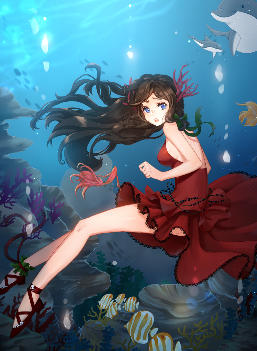1girl :o absurdres ankle_cuffs ankle_lace-up backless_outfit bare_legs belly_chain blue_eyes breasts brown_hair butterflyfish coral coral_hair_ornament cross-laced_footwear dolphin dress floating_hair from_side full_body hair_ornament highres horns jewelry long_hair looking_at_viewer looking_to_the_side medium_breasts monet930 no_socks ocean ocean_bottom open-back_dress original red_dress red_footwear school_of_fish shoes sideboob sleeveless sleeveless_dress tropical_fish underwater