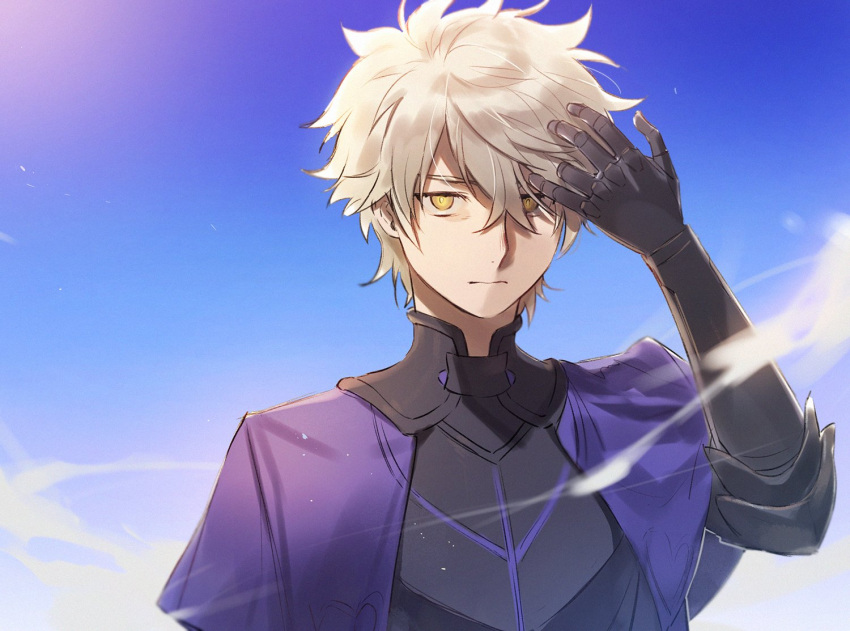 1boy adjusting_hair armor blue_sky closed_mouth fate/grand_order fate_(series) galahad_(fate) grand_dobu hair_over_one_eye lavender_hair looking_at_viewer male_focus sky upper_body yellow_eyes