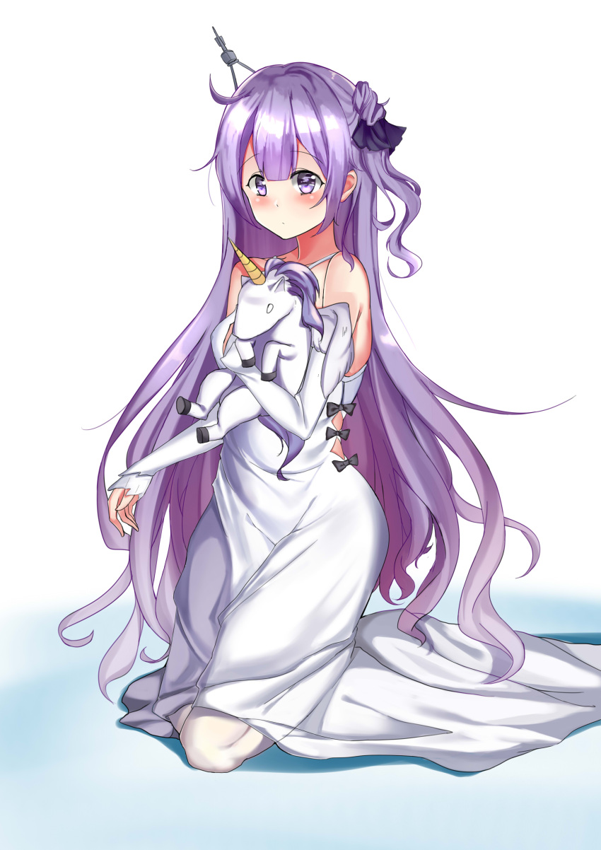 1girl absurdres azur_lane black_bow black_ribbon bow commentary_request criss-cross_halter doll_hug dress hair_bun halterneck headgear highres long_hair lumu_yuanxiang object_hug older one_side_up purple_hair ribbon side_bun stuffed_animal stuffed_pegasus stuffed_toy stuffed_unicorn unicorn_(azur_lane) very_long_hair violet_eyes white_dress