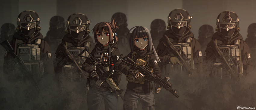 2girls ahoge ak-74m angled_foregrip armor assault_rifle balaclava black_hair blue_eyes brown_hair bulletproof_vest bullpup commentary_request eotech gloves goggles gun hair_up handgun headset helmet highres holding holding_weapon holster holstered_weapon knife_holster load_bearing_vest magazine_(weapon) military multiple_girls ndtwofives original patch plate_carrier qbz-95 red_eyes reflex_sight rifle trigger_discipline twitter_username vertical_foregrip vest weapon weapon_request