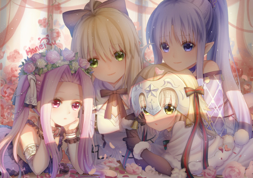 4girls ahoge arm_support artist_name artoria_pendragon_(all) bangs bare_shoulders bell black_bow black_gloves blonde_hair blue_eyes blue_hair bow capelet caster closed_mouth commentary_request dress elbow_gloves eyebrows_visible_through_hair fate/grand_order fate_(series) flower fur-trimmed_capelet gloves green_bow green_eyes green_ribbon hair_between_eyes hair_bow hair_flower hair_ornament haneru head_rest head_tilt headpiece high_ponytail jeanne_d'arc_(fate)_(all) jeanne_d'arc_alter_santa_lily long_hair looking_at_viewer lying medusa_(lancer)_(fate) multiple_girls on_stomach parted_bangs pink_flower pointy_ears ponytail purple_hair ribbon rider saber smile striped striped_bow striped_ribbon twintails very_long_hair violet_eyes white_capelet white_dress white_flower yellow_eyes
