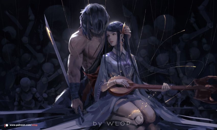 1boy 1girl bandage bandaged_arm black_hair cello character_request closed_mouth commentary_request doll_joints dungeon_and_fighter earrings hair_over_eyes highres holding holding_instrument holding_sword holding_weapon hoop_earrings instrument japanese_clothes jewelry kimono kneeling lips long_hair long_sleeves marionette music patreon_logo patreon_username playing_instrument puppet red_eyes red_lips reverse_grip seiza shirtless sitting sword weapon wlop