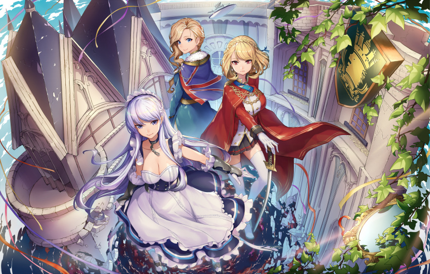 3girls apron azur_lane bangs belfast_(azur_lane) blonde_hair blue_eyes braid breasts chains cleavage closed_mouth collar collarbone commentary_request corset crown_braid dress essual_(layer_world) eyebrows_visible_through_hair french_braid frilled_apron frills gloves hat highres hood_(azur_lane) large_breasts long_hair looking_at_viewer maid maid_apron maid_headdress multiple_girls prince_of_wales_(azur_lane) red_eyes short_hair silver_hair smile swept_bangs thigh-highs union_jack white_gloves white_legwear