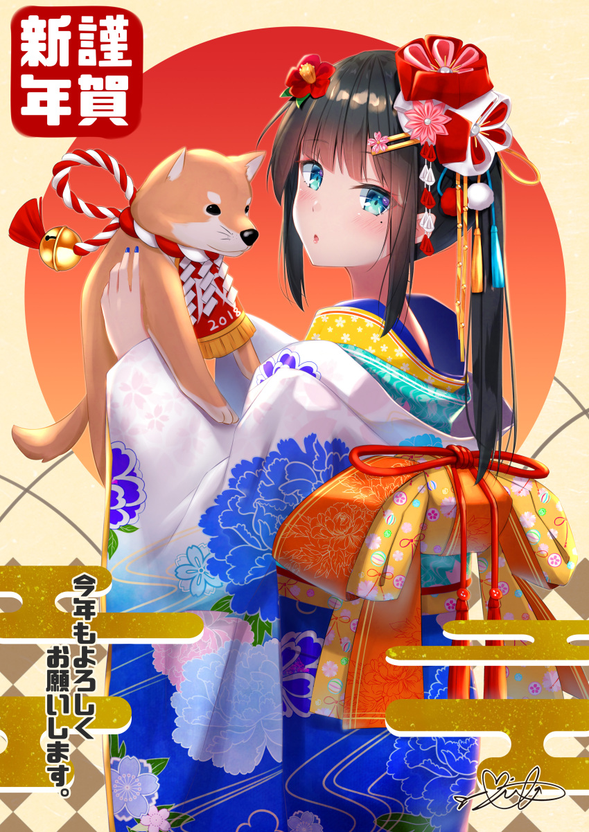 1girl 2018 :o absurdres animal bangs bell black_hair blue_eyes blue_kimono blunt_bangs blush bow clothed_animal cowboy_shot dog egasumi flower from_side hair_flower hair_ornament hairclip highres holding holding_animal japanese_clothes jingle_bell kimono large_bow long_hair long_sleeves looking_at_viewer looking_to_the_side mirea mole mole_under_eye open_mouth orange_bow original print_kimono rope shimenawa sidelocks signature solo standing tassel translation_request whiskers wide_sleeves year_of_the_dog