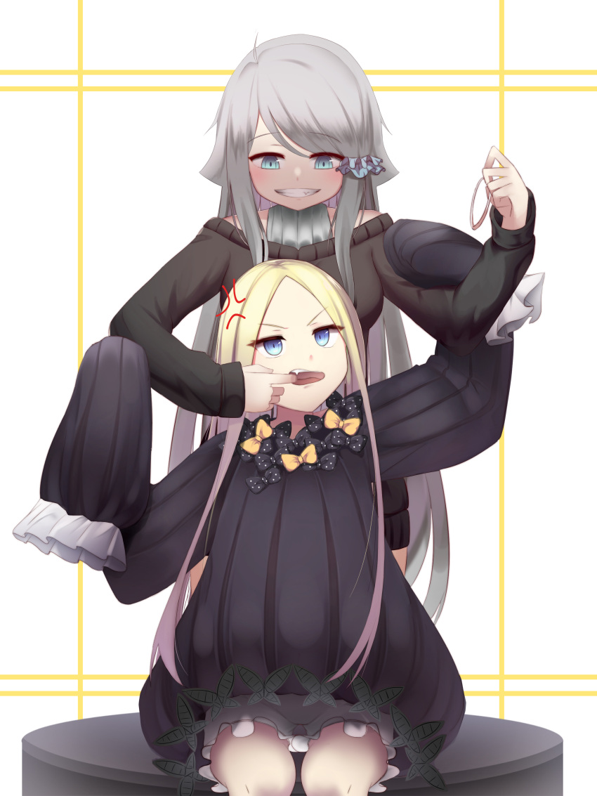 2girls abigail_williams_(fate/grand_order) absurdres ahoge anger_vein bangs black_bow black_sweater blonde_hair bloomers blue_eyes blush bow crossover dress eyebrows_visible_through_hair fate/grand_order fate_(series) finger_in_another's_mouth grey_hair grin hair_ornament hair_scrunchie hair_tie highres holding imouto_sae_ireba_ii kani_nayuta long_hair long_sleeves looking_up multiple_girls open_mouth orange_bow scrunchie sitting sleeves_past_wrists smile standing sugar_(dndi888) sweater sweater_dress swept_bangs underwear v-shaped_eyebrows very_long_hair white_background