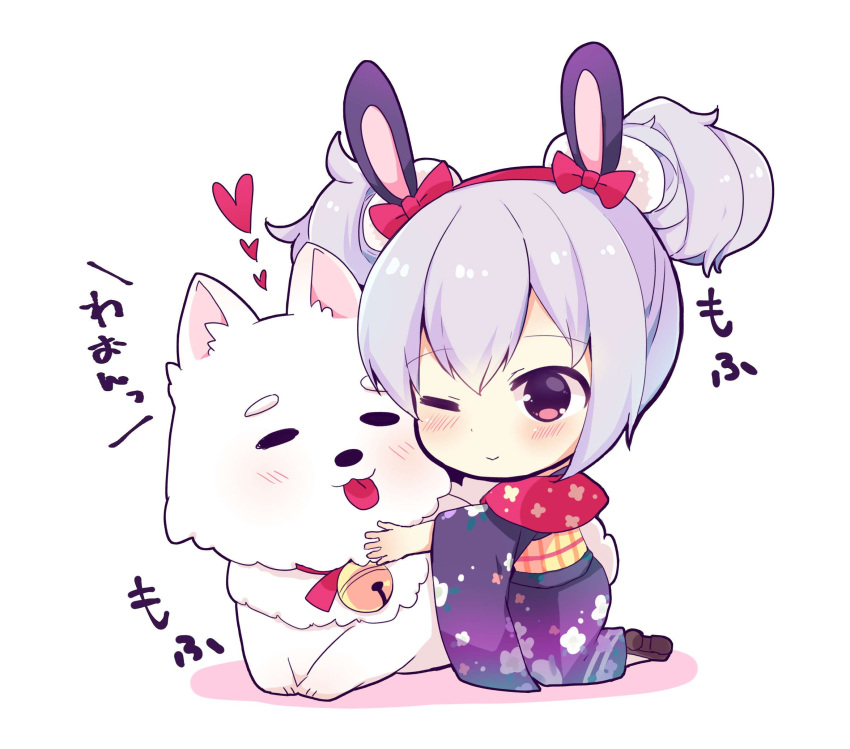 1girl ;> animal animal_ears animal_hug azur_lane bangs bell blue_kimono blush bow brown_eyes brown_footwear closed_mouth commentary_request dog double_bun eyebrows_visible_through_hair floral_print hair_between_eyes hair_bow hairband heart highres japanese_clothes jingle_bell kimono laffey_(azur_lane) long_sleeves obi print_kimono rabbit_ears red_bow red_hairband sash shiopy shoes silver_hair smile solo tongue tongue_out translation_request white_background wide_sleeves