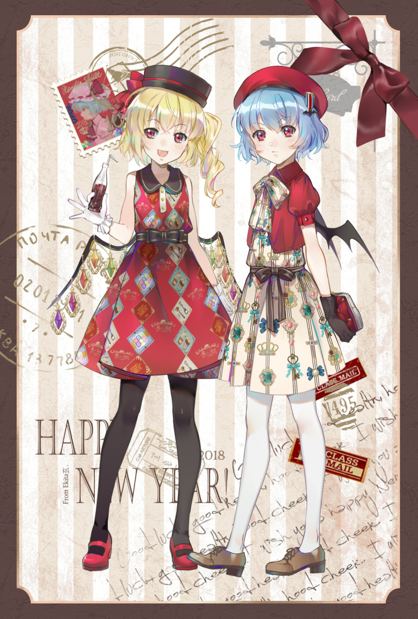 2018 2girls alternate_costume bare_shoulders bat_wings beret black_gloves black_legwear blonde_hair blue_hair bottle bow brown_footwear commentary_request dress drinking_straw ekita_xuan flandre_scarlet gloves happy_new_year hat hat_bow highres looking_at_viewer multiple_girls neck_bow new_year open_mouth puffy_short_sleeves puffy_sleeves red_bow red_eyes red_footwear red_hat red_shirt remilia_scarlet shirt shoes short_hair short_sleeves side_ponytail sleeveless sleeveless_dress smile stamp standing touhou white_gloves white_legwear wings
