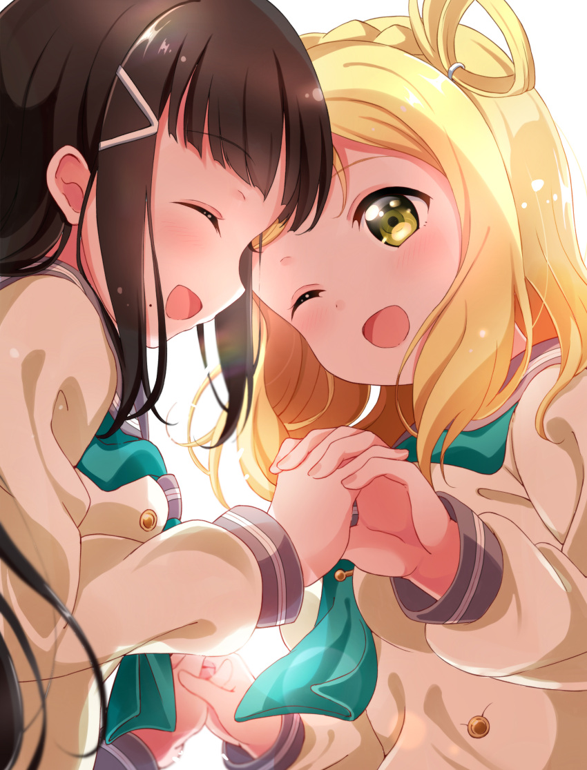2girls ;d absurdres aqua_neckwear bangs black_hair blonde_hair braid cover cover_page crown_braid doujin_cover hair_ornament hair_rings hairclip hand_holding highres kurosawa_dia long_hair long_sleeves love_live! love_live!_sunshine!! mole mole_under_mouth multiple_girls neckerchief ohara_mari one_eye_closed open_mouth pipette1223 school_uniform serafuku smile tie_clip uranohoshi_school_uniform