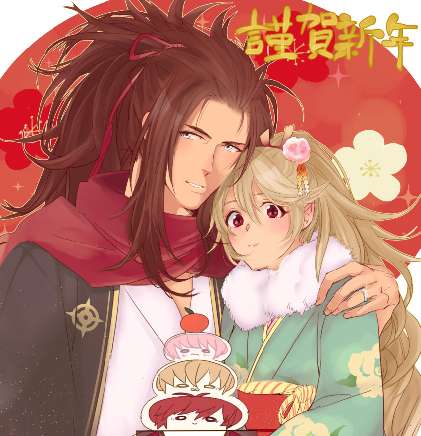 1boy 1girl brown_hair female_my_unit_(fire_emblem_if) fire_emblem fire_emblem_if food green_eyes hair_bun highres japanese_clothes long_hair looking_at_viewer mochi my_unit_(fire_emblem_if) red_eyes ryouma_(fire_emblem_if) smile wagashi white_hair