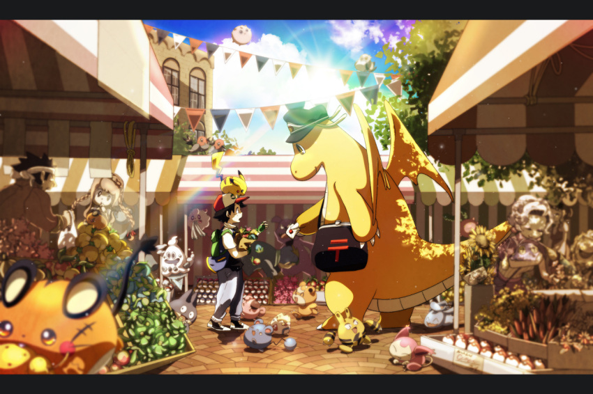 2girls 3boys ^_^ animal animal_on_head azurill backpack bag black_hair blurry blurry_foreground braid chinchou claws cleffa closed_eyes clouds day dedenne depth_of_field dragon dragonite elekid fletchling flower food fruit full_body granbull grey_hair grocery_bag hat headband height_difference holding holding_bag holding_letter imomushi_(pixiv_9001433) jigglypuff letter letterboxed long_hair looking_at_another multiple_boys multiple_girls munchlax on_head open_mouth outdoors pants pikachu pokemon pokemon_(anime) pokemon_(creature) satoshi_(pokemon) shirt shopping_bag shoulder_bag skitty sky smile spiky_hair standing sun sunflower swirlix tail teddiursa togepi twin_braids vanillish vest wings wynaut