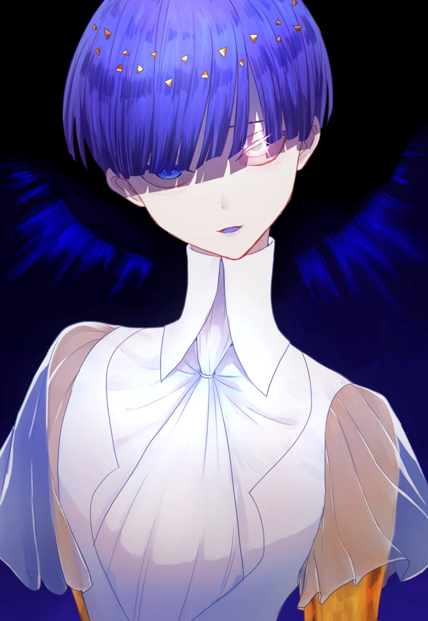 absurdres androgynous bangs blue_eyes blue_hair blunt_bangs highres houseki_no_kuni looking_at_viewer phosphophyllite phosphophyllite_(ll) short_hair smile solo sparkle spoilers upper_body white_eyes