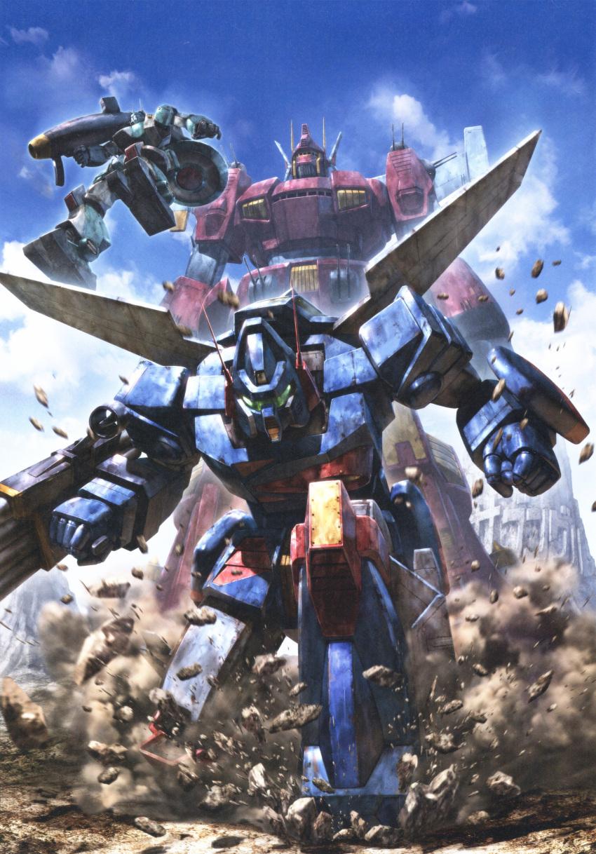absurdres artbook clouds highres mecha morishita_naochika no_humans outdoors scan sentou_mecha_xabungle sky weapon xabungle_(mecha)